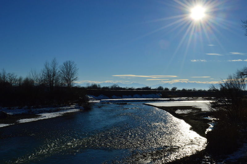 река Лес Природа зима отражение блеск солнце небо