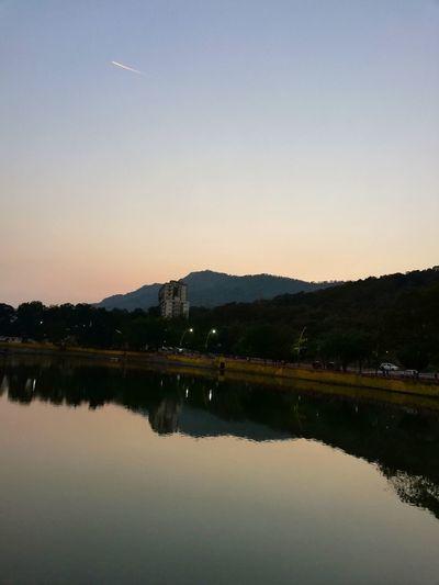 Perfect sunset Water Mountain Astronomy Lake Sunset Reflection Symmetry Sky