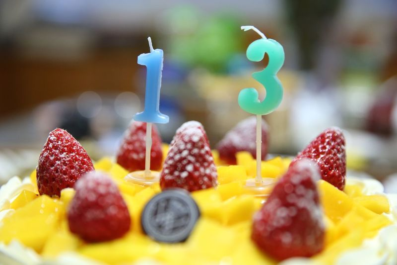 Close-Up Of Cake With Fruits