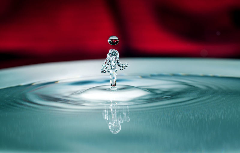 Water drops Clean Close-up Concentric Drinking Glass Drop Falling Glass High-speed Photography Household Equipment Indoors  Motion Nature No People Purity Red Rippled Selective Focus Splashing Splashing Droplet Water Water Drops In Shape Of Man