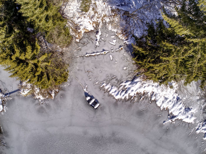 Ice Trees Winter Birdseyeview Boat Dronephotography Frozenlake