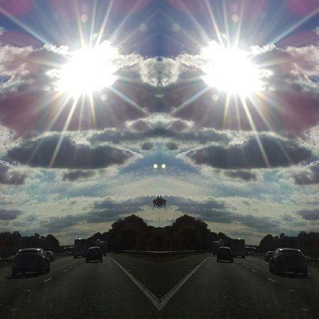 Symmetry Symmetryporn Symmetrybuff Abstracting_architects mirrorgram sunflare sun motorway freeway
