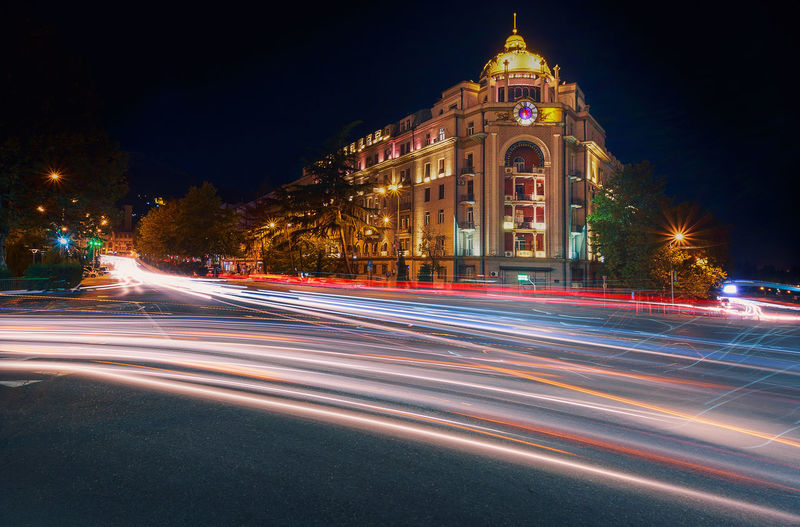 Tbilisi night - eposoid 1 Georgia Tbilisi Architecture Blurred Motion Building Exterior Built Structure City Clear Sky Illuminated Light Trail Long Exposure Motion Night No People Outdoors Road Sky Speed Street Street Light Transportation Travel Destinations