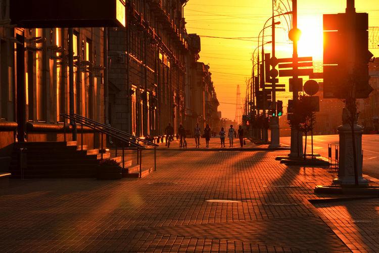 5 AM Street Summer Sun City Morning Light Sunrise Shadows Outdoors Europe Minsk Eastern Europe Belarus BY112_MINSK_AK BY112_BELARUS_AK
