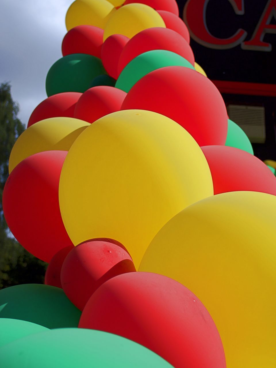 multi colored, balloon, helium balloon, celebration, variation, helium, low angle view, large group of objects, no people, outdoors, close-up, day, sky