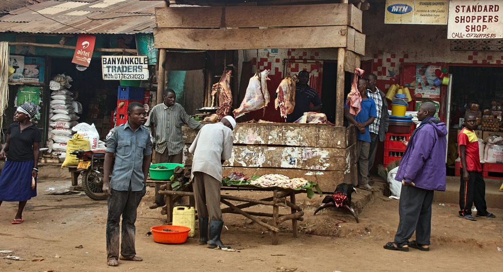 local butcher Africa Business Butcher Colorful Cow Cultures Day Dryseason Food Food And Drink For Sale Goat Guts Local Marked Market Market Stall Meat People Slum Store Sunny Township Uganda  Wood Miles Away The City Light
