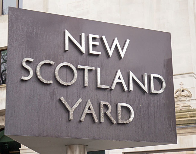 London New Scotland Yard Close-up Communication Day Metropolitan Police No People Outdoors Police Station Revolving Sign Text Western Script