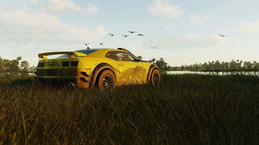 Dramatic Angles Transportation Field Mode Of Transport Sky Growth Grass Landscape Rural Scene Flying Mordern Muscle Cloud Racing Cloud - Sky Outdoors Day Farm Gameplay Tranquility Tranquil Scene Green Color Gaming THE CREW Gamerforver Screenshot
