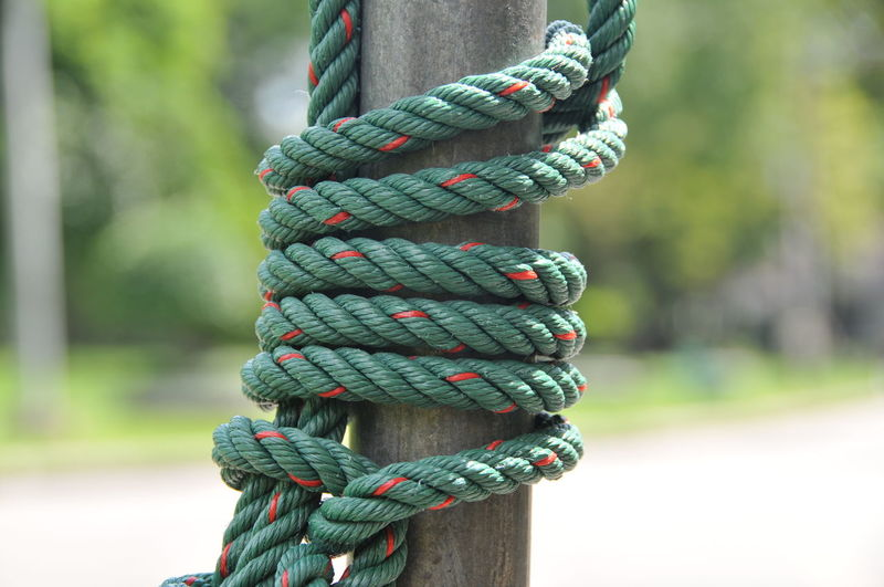 Close-up of ropes tied up