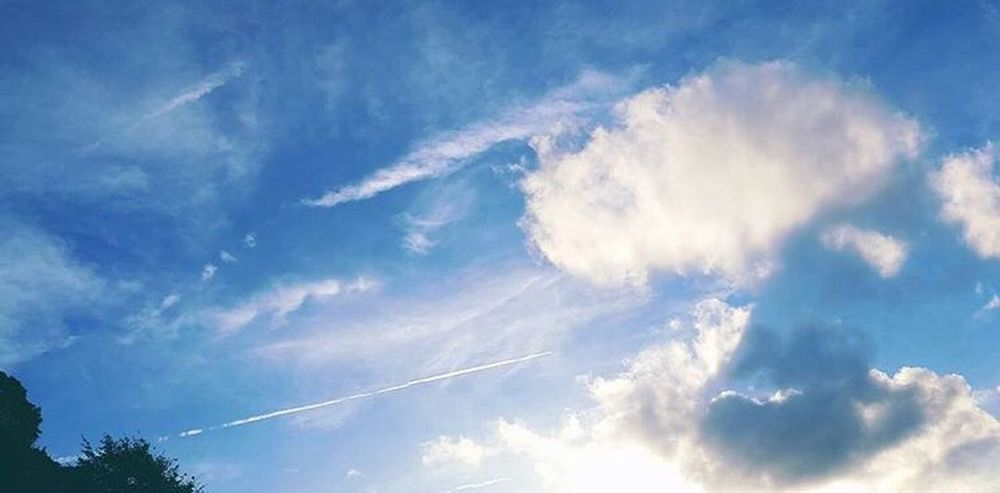 Low Angle View Blue Sky Beauty In Nature Cloud - Sky Cloud Nature Vapour Vapor Trail Sun Day Outdoors Heaven Cloudscape EyeEm Nature Lover Eye4photography  EyeEm