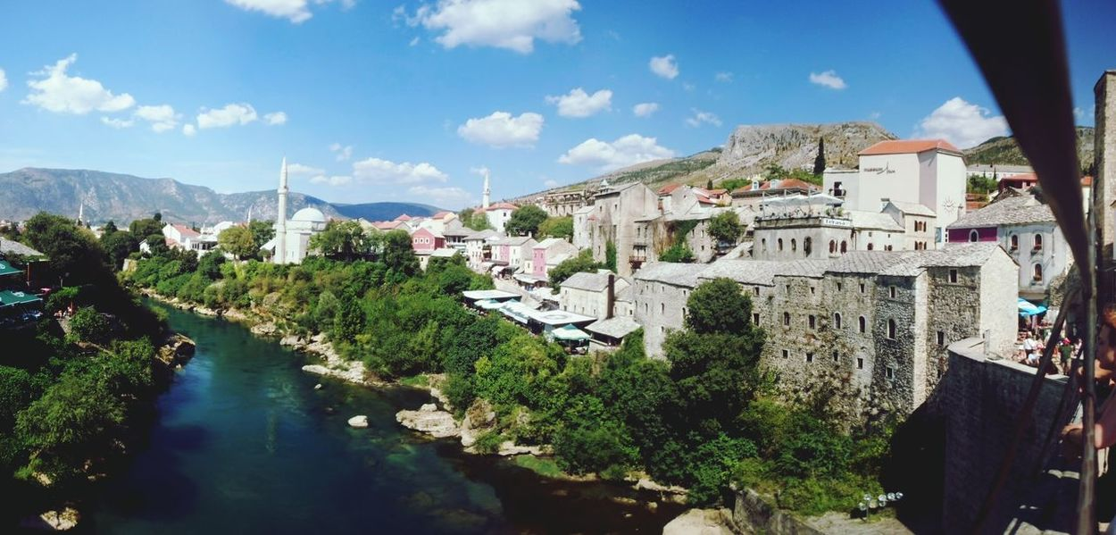 Mostar Mostar Bridge Bosnia And Herzegovina Minaret Mosque Water Cloud - Sky River Cloud Mountain Reflection In The Water Tree Neretva River My Year My View