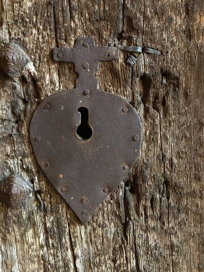 Door loock No People Day Close-up Textured  Metal Old Wood - Material Lock Door