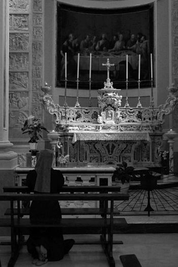 Indoors  Architecture Ornate Churc Churches Ora Et Labora Pray Suora Church Interior Locorotondo Church!  Praying Hard Prayer Nun Nunpray Blackandwhite Blackandwhite Photography Blak&white Travel Destinations Particulary Travel Destination Catedral Your Ticket To Europe The Week On EyeEm Second Acts Black And White Friday