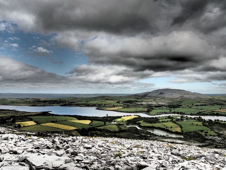 Poulnaclogh Bay & Abbey Hill County Clare Ireland The Burren Abbey Hill Landscape Landscapes Limestone Karst Clouds And Sky Patchwork Fields Bay Galway Bay Natural Beauty My Favorite Place Miles Away