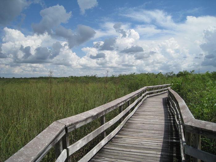 Footbridge over field against sky