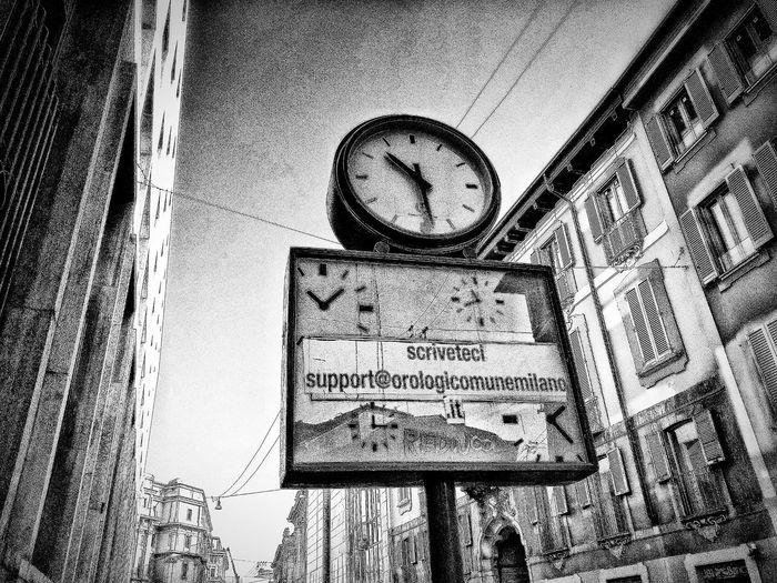 Via Bocchetto, Milano, Febbraio 2019 Blackandwhite Urban City Street Street Clock Sky Low Angle View Architecture Building Exterior Built Structure