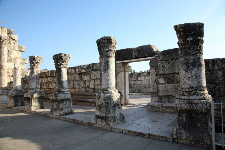 Ruins of the great synagogue of Capernaum, Israel. Ancient Archaeological Architecture Belief Biblical  Capernaum Capharnaum Faith Galilee Historic History Holy Holy Land Israel Middle East Religion Religious  Ruin Sacred Saint Spirituality Stone Material Synagogue Village Worship