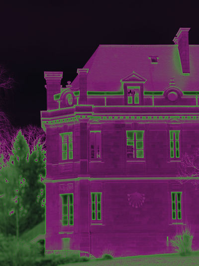 Castle EyeEm Best Edits French Castle Infrared Style Lamorlaye Castle Side Of Castle Architecture Building Exterior Built Structure Edited Photography Nature Part Of Castle Sundial Filters & Effects Pink Color Purple Purple And Green قلعة 城堡 城堡部分
