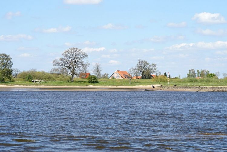 River Tranquility Water Sky Landscape No People Day Rural Scene Nature Elbe Elbe River Germany Lower Saxony House