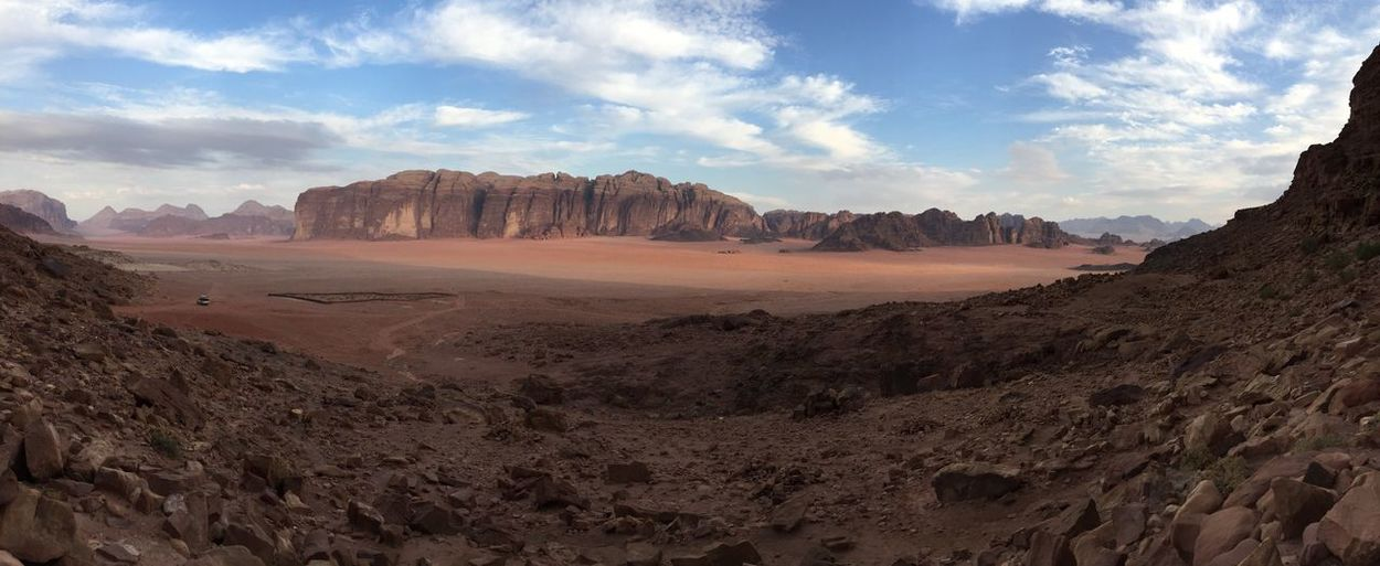 Panoramic view of desert landscape against sky
