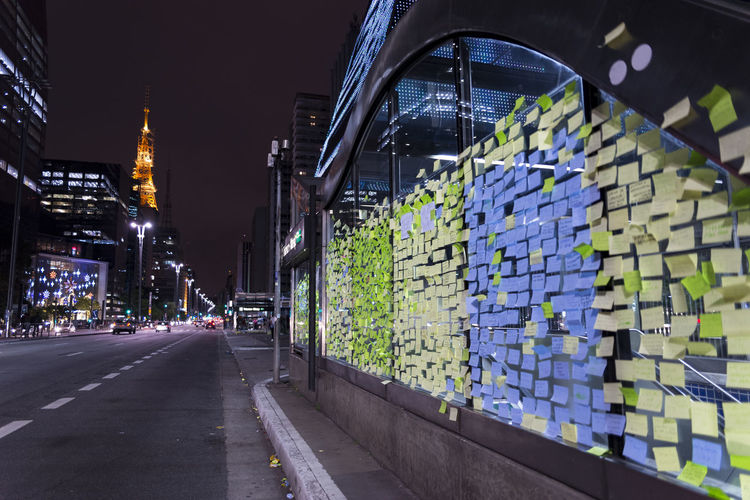 Memo wall at Paulista avenue in São Paulo, Brazil Avenue Brazil City Life Memorial Memories Night Lights Paulista Avenue Reminders SP Sao Paulo - Brazil Writing On The Walls Bloquinho Bloquinho De Nota Blue Cold Cool Feeling Memo Memo Stick Message Night Notes Reminder Sticker Sticks Tag