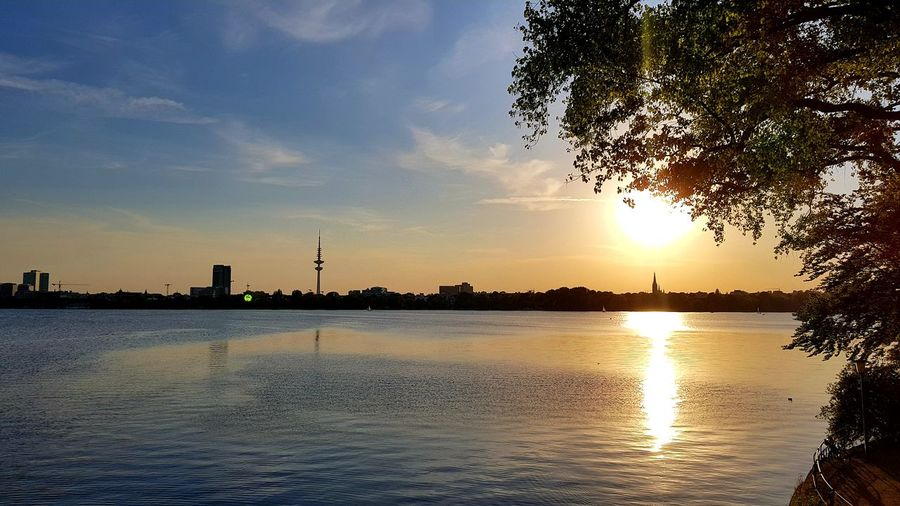 Hamburg Eye4photography  EyeEm Best Shots EyeEm Nature Lover Hamburg Alster Sunset Enjoying Life Relaxing Tree Water Sunset Silhouette Reflection Sky Cloud - Sky Horizon Over Water Idyllic