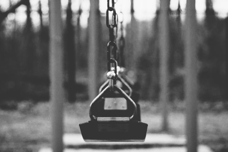 Still Absence Childhood Empty Streets Empty Swing Focus On Foreground No People Playground S Single Object