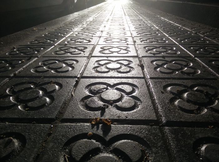 Barcelona footpath Pattern No People Architecture Close-up Day Footpath Design Stone High Angle View Direction Built Structure Backgrounds Full Frame Art And Craft Sunlight Shape Flooring Tiled Floor Floral Pattern Barcelona Tiles Textures Tiles Blackandwhite Black And White