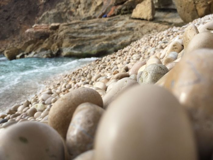 Beach Selective Focus Sand Shore Pebble Abundance Water Seashell Sea Maximum Closeness Surface Level Tranquil Scene Sandies Seascape Pebble Beach Seascape Seascape Photography Shoreline Water_collection Non-urban Scene Vacations Tranquility Day Summer Stone Beauty In Nature