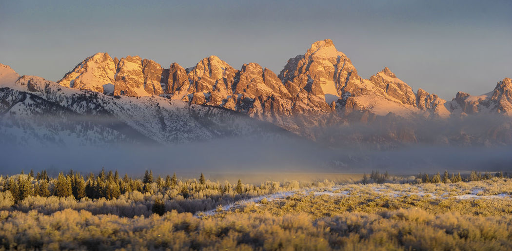 Foggy sunrise on the Grand Tetons Grand Teton National Park  Grand Tetons Grand Teton Sunrise Tetons Wyoming Beauty In Nature Fog Landscape Mountain Mountain Range Nature No People Non-urban Scene Out West Outdoors Plant Scenics Sky Snow Sunrise Sunrise On Mountains Tranquil Scene Winter First Eyeem Photo