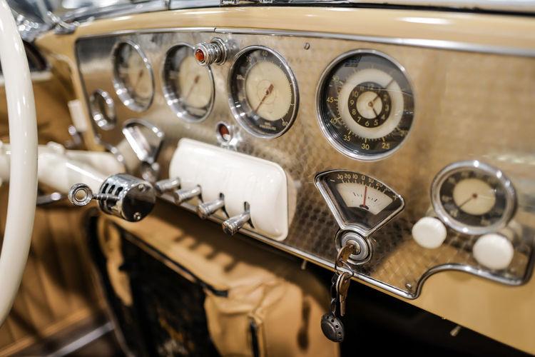 Vintage automobile dashboard gauges