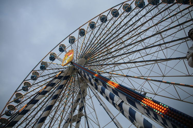 Arts Culture And Entertainment Development Engineering Fairground Attraction Ferris Wheel Low Angle View Metal Modern