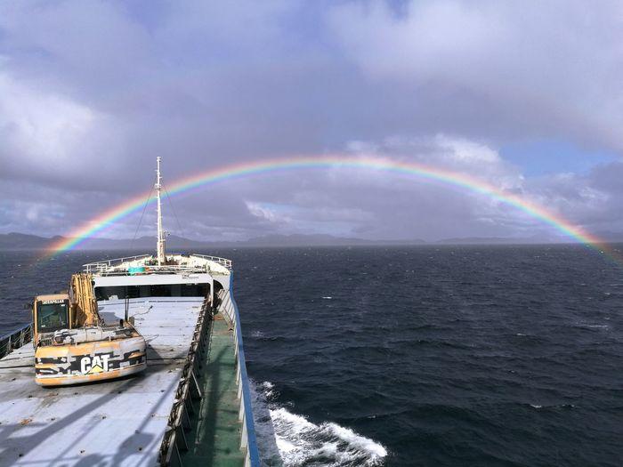 Looking for the gold pot. Goldpot Rainbow Ocean Ships⚓️⛵️🚢 Sea Nature Water Cargoship Sailor Sailorsgrave Searainbow Norway🇳🇴 Caterpillar Cargoships Viking Ship Connected By Travel