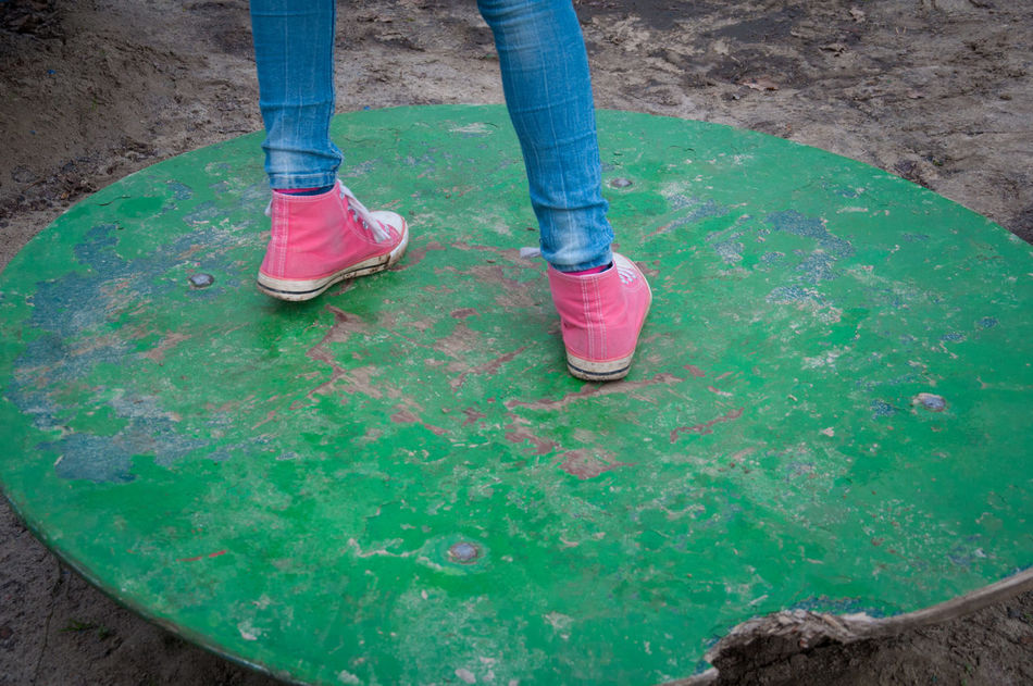 Damaged Day Footwear High Angle View Human Foot Leisure Activity Low Section Outdoors Person Personal Perspective Playground Red Green Blue Schloss Dankern Shoe RGB Redgreenblue