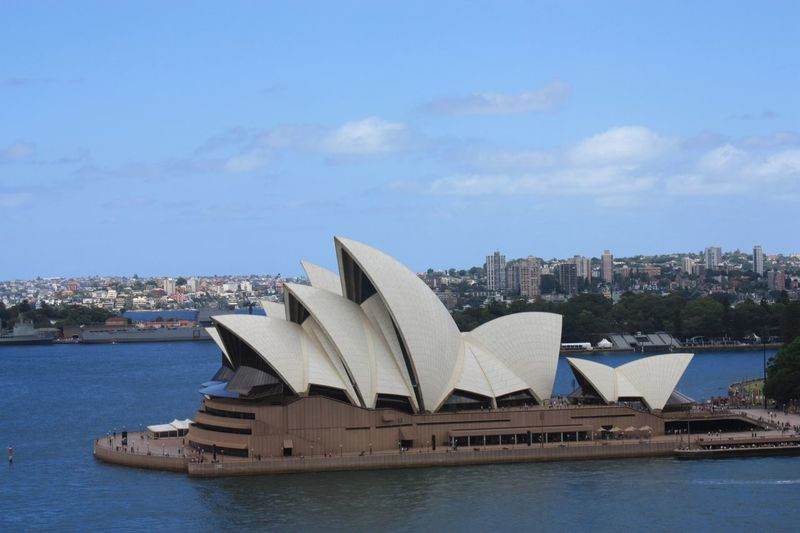 Sydney Opera House from the Sydney Harbour Bridge Architecture Building Exterior Built Structure Outdoors City Modern Day Arts Culture And Entertainment Sky Travel Destinations Cityscape Water