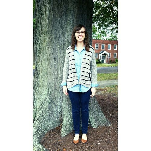 Here is a picture of me standing by a tree ::: oh and I have glasses now. Happysunday
