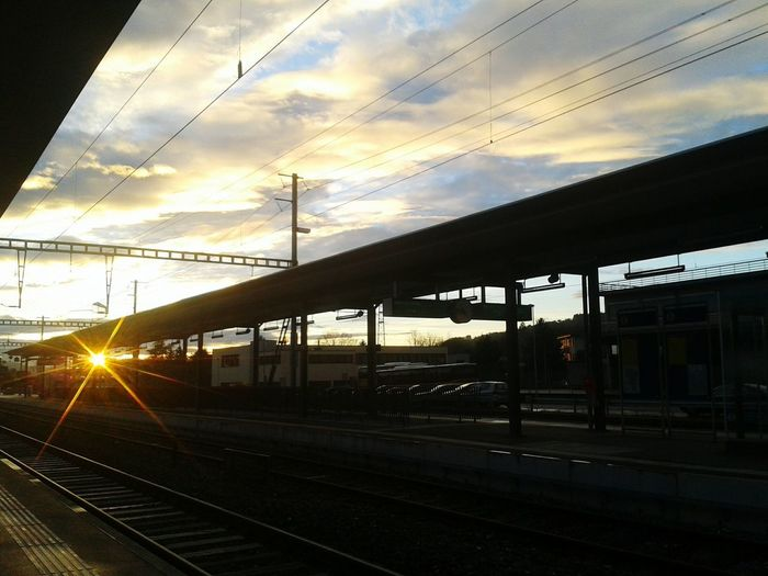 Connected By Travel Railroad Track Sunset Travel