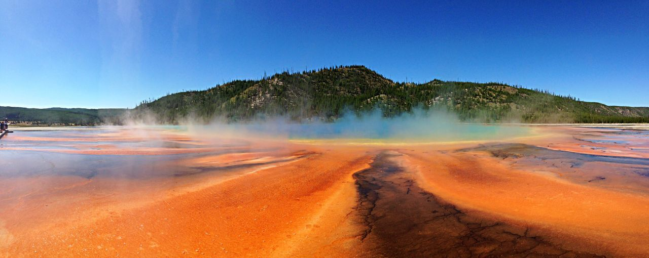 Scenic View Of Grand Prismatic Spring Against Clear Sky