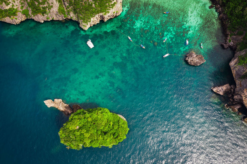 High angle view of  phi phi island krabi thailand