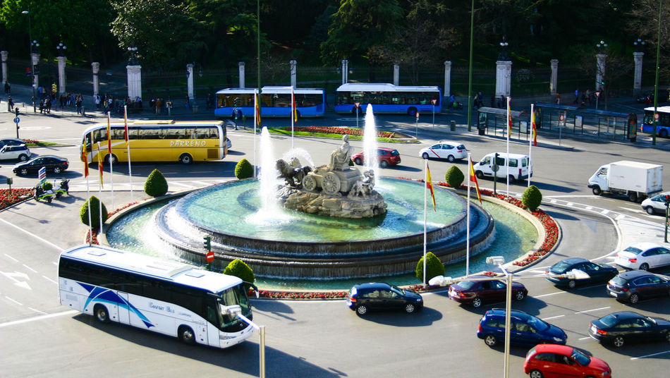 Cibeles roundabout Cibeles Madrid SPAIN Europe Traffic Circle Auto Racing Day Outdoors Motorsport Sport