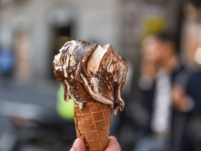 Close-up of ice cream cone against blurred background