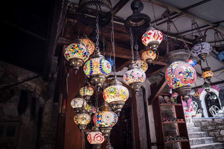 Mostar Lamp Mostar Art And Craft Hanging Lighting Equipment No People Decoration Multi Colored Built Structure Lantern