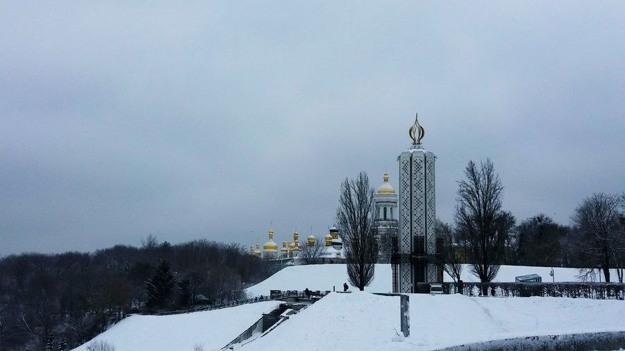 Winter Snow Tree Cold Temperature Outdoors No People Nature Sky Snowing Beauty In Nature Day Monument Church Kyiv Sky And Clouds Snow ❄ Landscape Nature And City On The Hill Highs And Lows