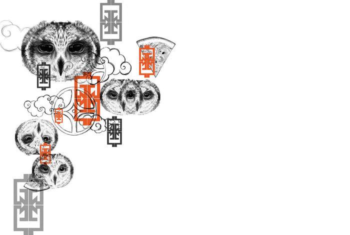 cg painting owl CG Illustration Pocker Red Black White Black And White Cg Art Cg Painting Chinese New Year Drawing - Art Product Majong Simbolic Melon Slices One Animal Owls Pencil Drawing Simbolic Pocker White Background