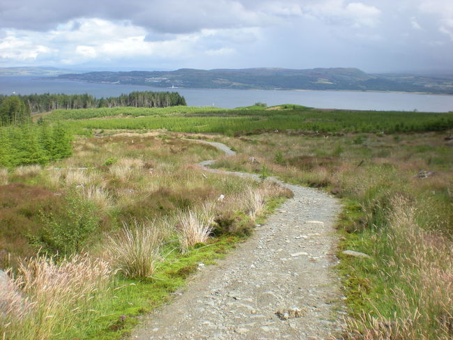 A view of the Forth of Clyde from a hiking path above Dunoon, Scotland. Beach Beauty In Nature Cloud - Sky Dunes Grass Hiking Horizon Over Water Landscape Nature Outdoors Rural Scene Scotland Tranquil Scene Walk Walking Path