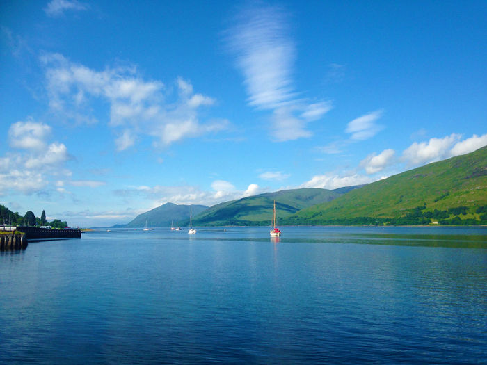 Beauty In Nature Blue Cloud - Sky Day Highlands Loch Linnhe Mountain Nature Nautical Vessel No People Outdoors Scenics Scotland Sea Sky Tranquil Scene Tranquility Transportation Travel Destinations Water Waterfront