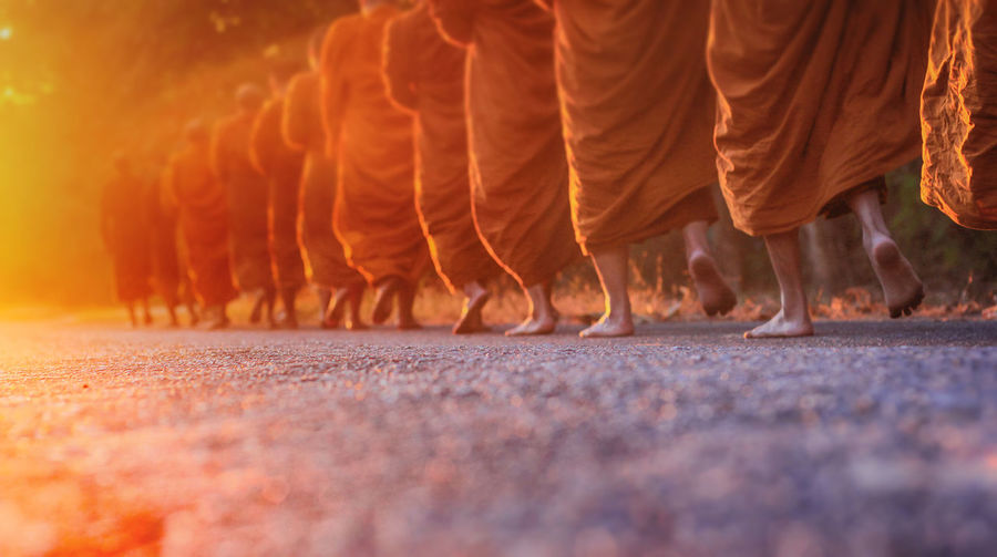 Low Section Of Monks Walking On Field
