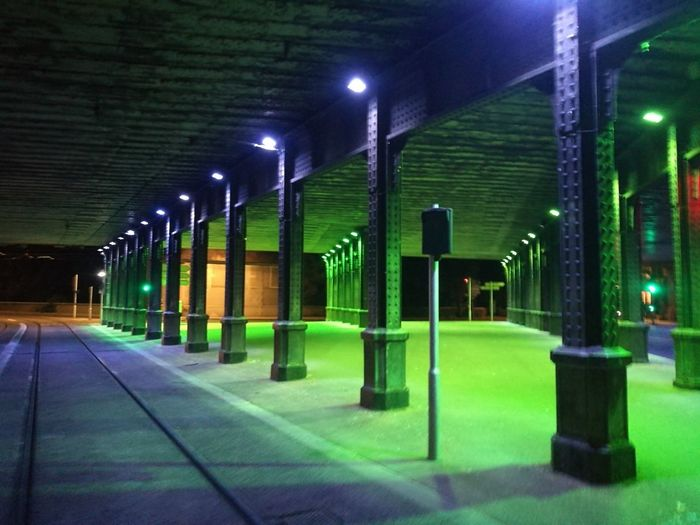 Illuminated Architectural Column Lighting Equipment Architecture Built Structure Green Color