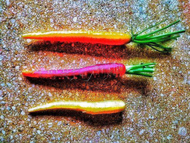 Carrots Multiplicity Colors Colorful Art Create Experimental Food Food Art Colorsplash Three Tri Colors Vegetables Vegetarian Food Vegetable Vegetarian Vegetables & Fruits Neon Maximum Closeness