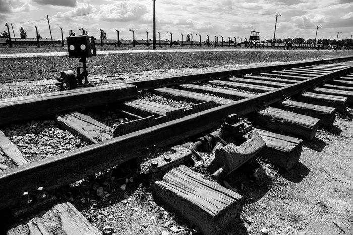 Aushwitz Aushwitz Residence Aushwitz-Birkenau Crakow Death Camp Eastern Europe Poland Aushwitz Camp Concentration Camp Concentrationcamp Day Killing Krakow No People Outdoors Rail Transportation Railroad Track Sad Sky Transportation